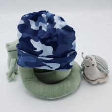 Babymuts Blauw camouflage