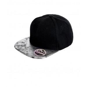 Snapback Cap zwart  glitter klep zilver