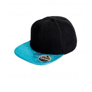 Snapback Cap zwart glitter klep turquoise