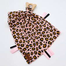 Baby knuffeldoek print luipaard roze