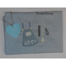 Theedoek blauw schort