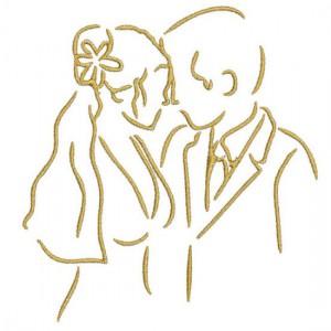 Borduurpatroon Bruidspaar klassiek