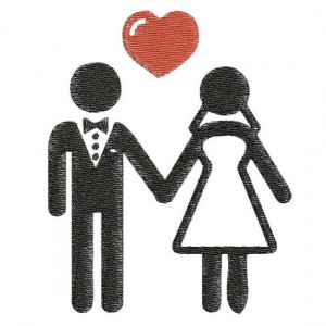 Borduurpatroon Bruidspaar love