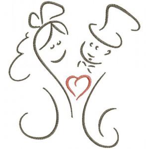 Borduurpatroon Huwelijk hartje