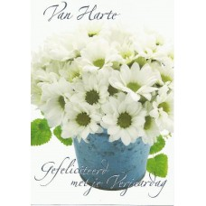 Kaart verjaardag bloem wit