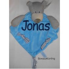 Knuffeldoek grote beer blauw
