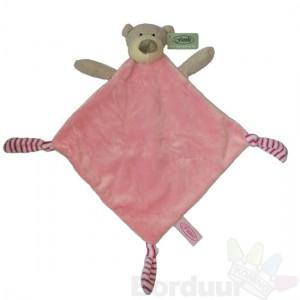 Knuffeldoek kleine beer roze