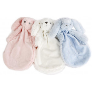 Knuffeldoek pluche wit, blauw roze