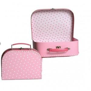Koffer Klein/ Middel roze ster