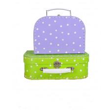 Koffer Klein lila/ Middel lime stip