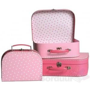 Koffer roze sterren middel
