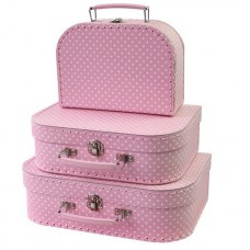 Koffer roze witte stip klein