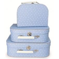 Koffer blauw witte stip klein