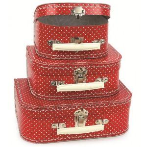 Koffer rood witte stip klein