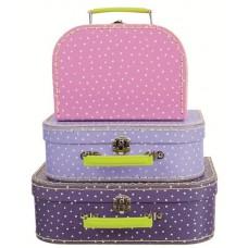 Koffer stip roze klein