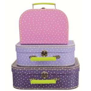 Koffer stip lila middel