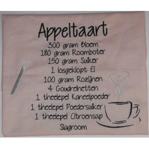 Theedoek roze Appeltaart